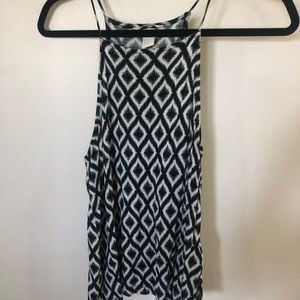 High neck black and white tank top